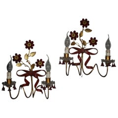 Pair of 20th Century Brass and Glass Wall Sconces