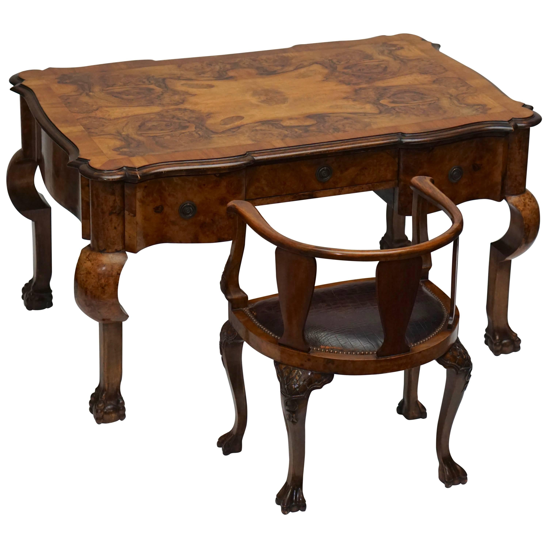 19th Century Burl Walnut Partner's Desk with Armchair