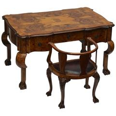 19th Century French Burled Walnut Partners Desk with Armchair