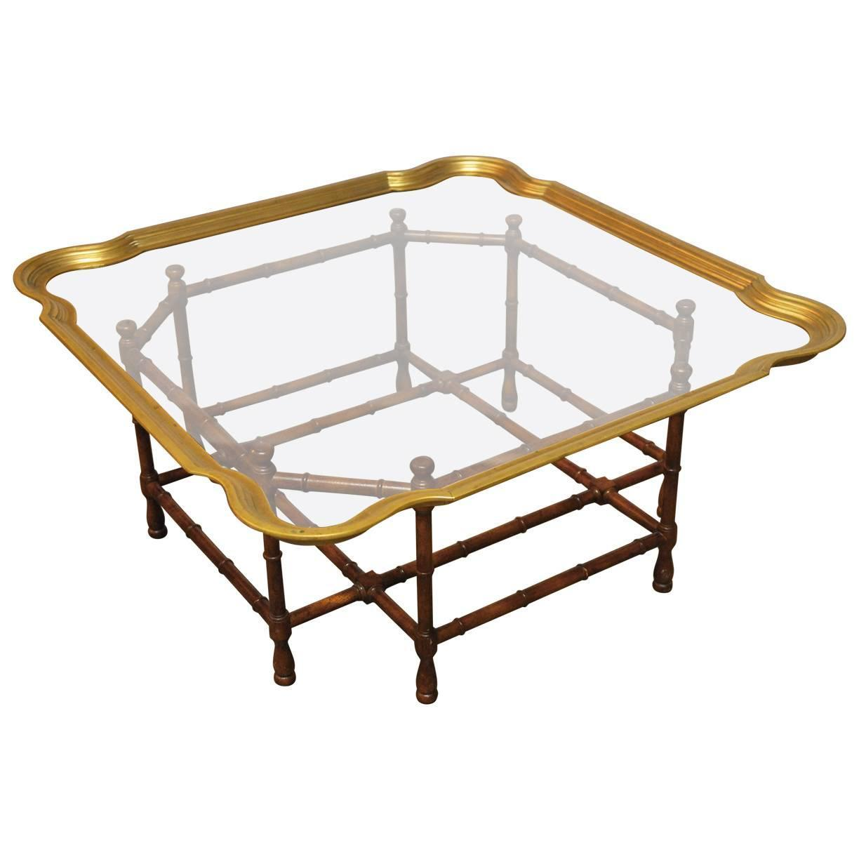baker bamboo and brass tray top coffee table at 1stdibs. Black Bedroom Furniture Sets. Home Design Ideas