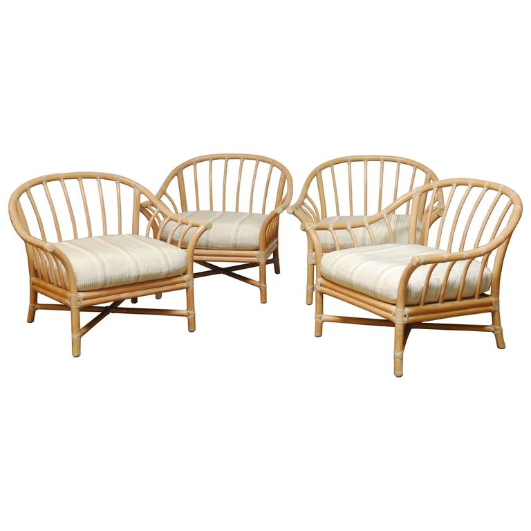 Superieur Set Of Four Oversized McGuire Bamboo Lounge Chairs For Sale