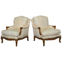 Pair of French Walnut Bergeres by Minton-Spidell