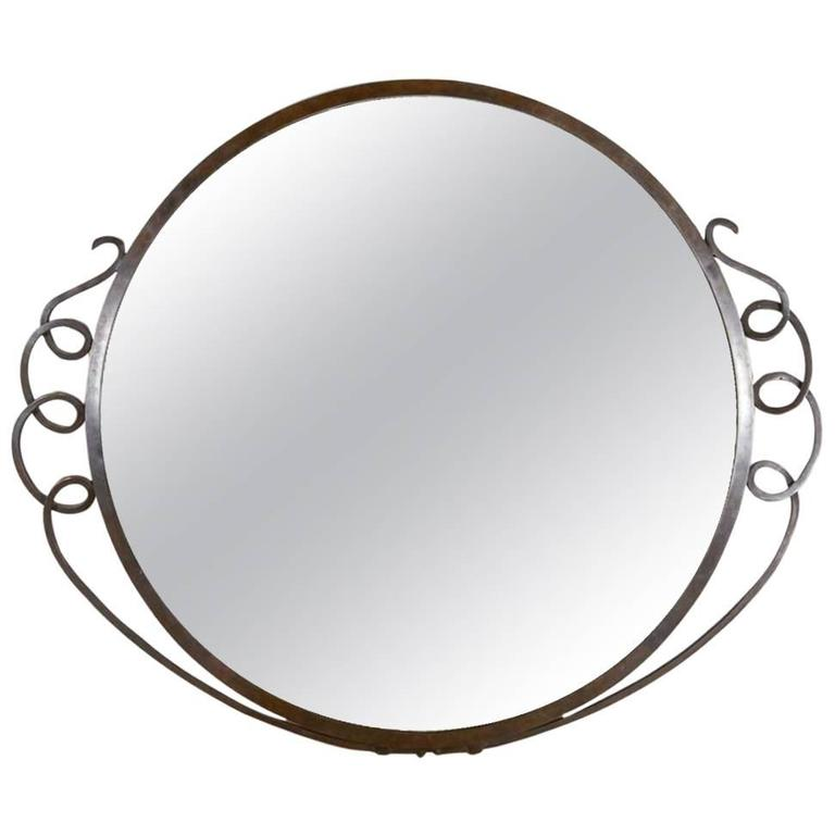 Wall Hanging Patinated Bronze Mirror For Sale
