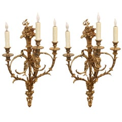 Pair of French Gilt Bronze Three-Light Bronze Sconces, 19th Century