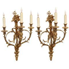 Pair of French Gilt Bronze Three-Light Bronze Sconces, 19th Century