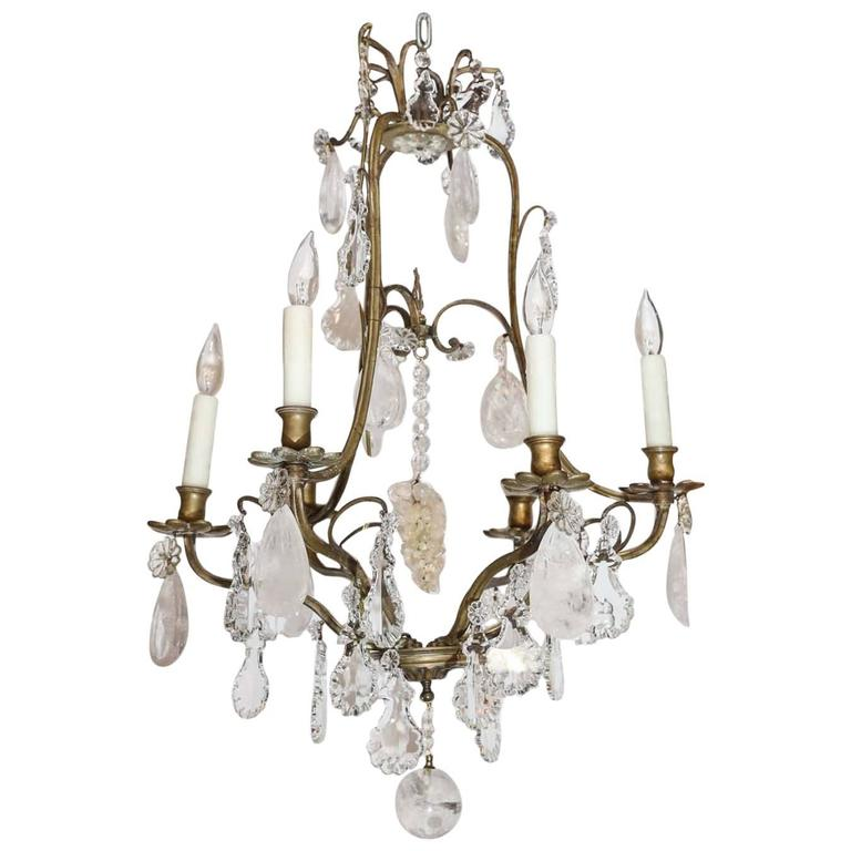 Bronze and Crystal with Rock Crystal Chandelier, 19th Century