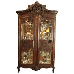 19th Century French Wood Carved Display Cabinet