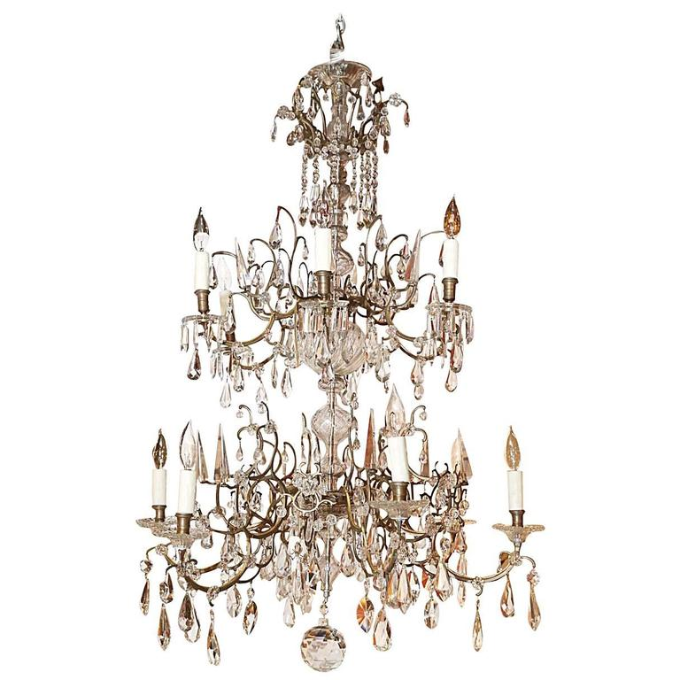Venetian Bronze and Crystal Chandelier; with two tiers of lights