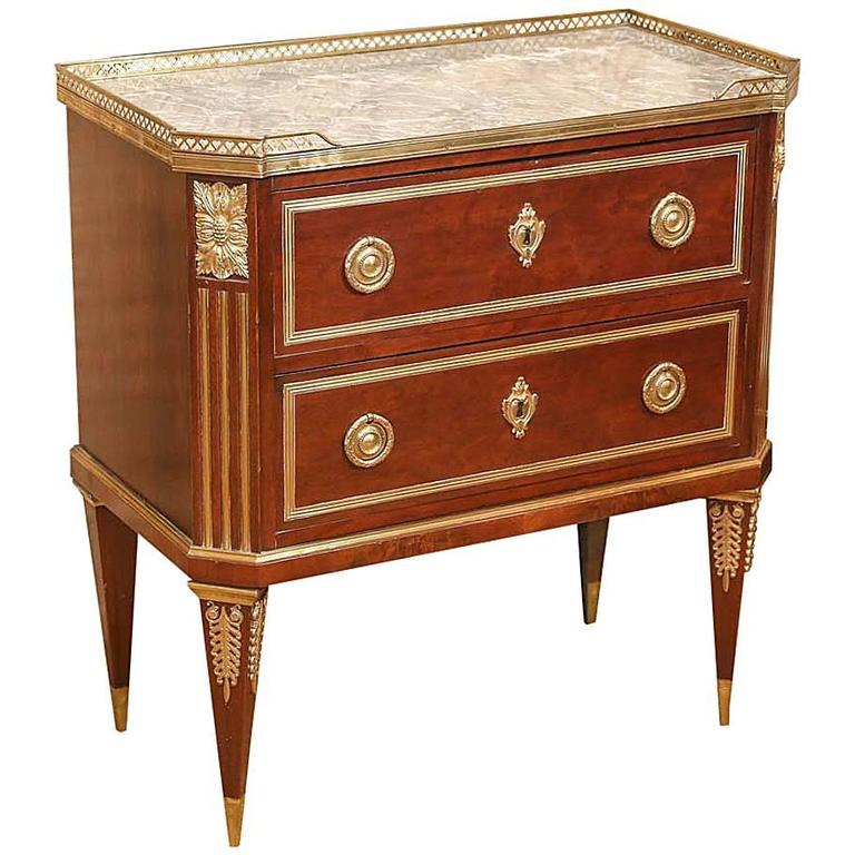 Russian Neoclassical-Style Mahogany and Marble-Top Commode
