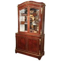 19th Century Continental Bronze-Mounted Amboyna Wood, China/ Display Cabinet