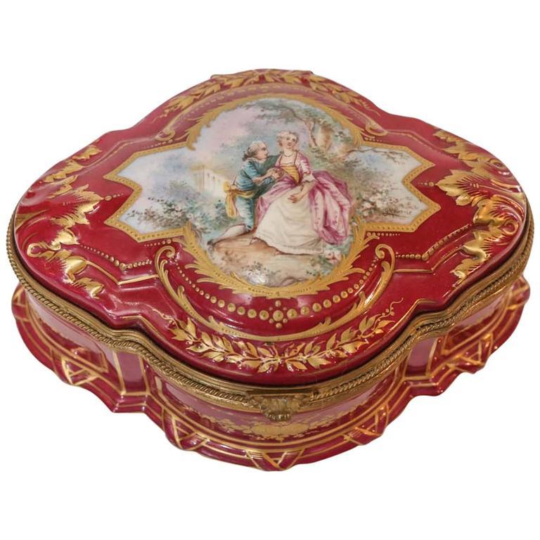 Sevres Porcelain Box with Gilt Trim