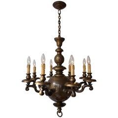 Massive Bronze Belgium Flemish Style Chandelier