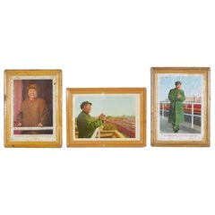 Set of Mao Cultural Revolution Portraits on Tin