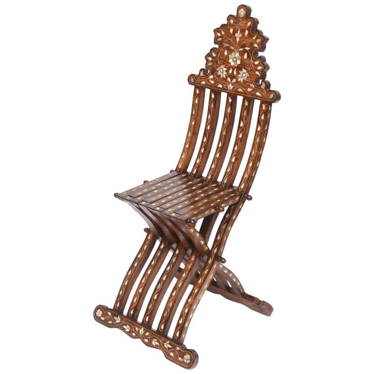 Syrian Mother Of Pearl Inlaid Folding Chair At 1stdibs