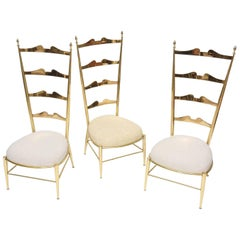 Rare Tall Back Brass Chiavari Chairs with Truncated Legs