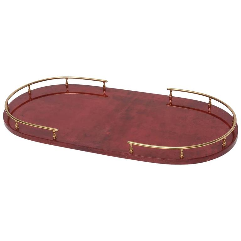 Aldo Tura Red Goatskin Serving Tray