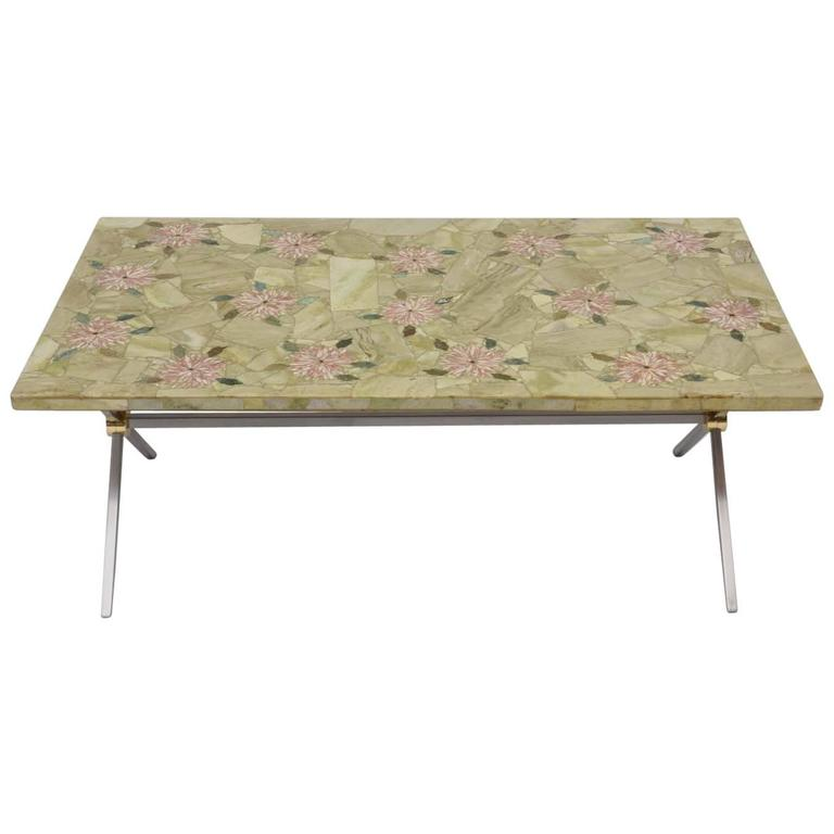 Extraordinary Italian Brass and Steel Coffee Table with Marble Mosaic Top