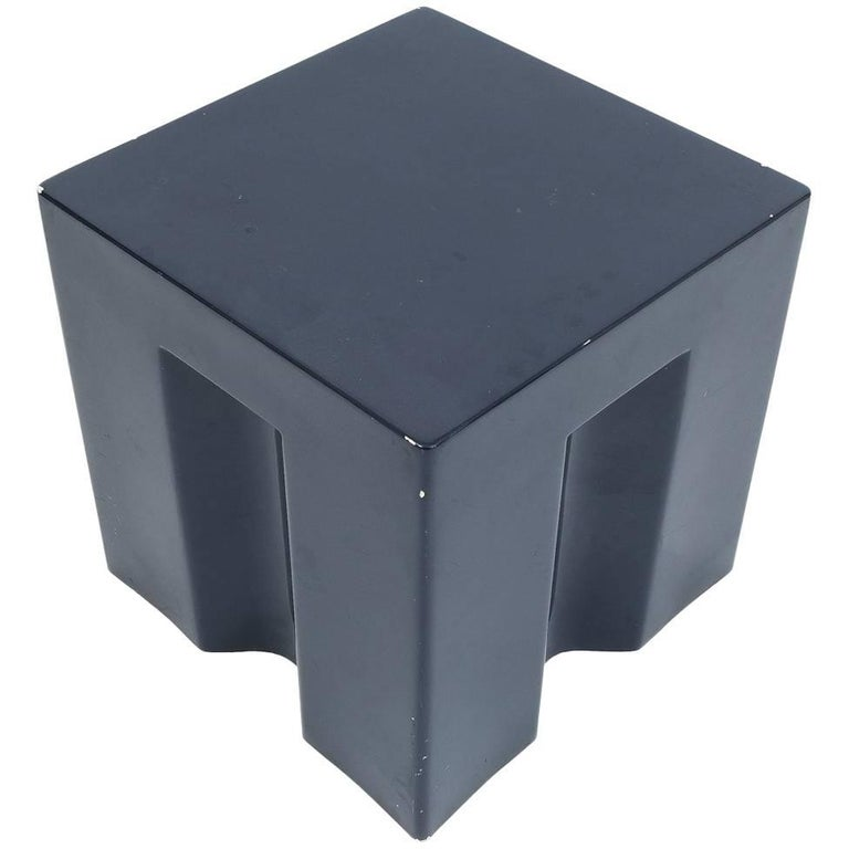 Early Prototype Coffee Side Table from Fiberglass Dark Blue, Italy, circa 1970