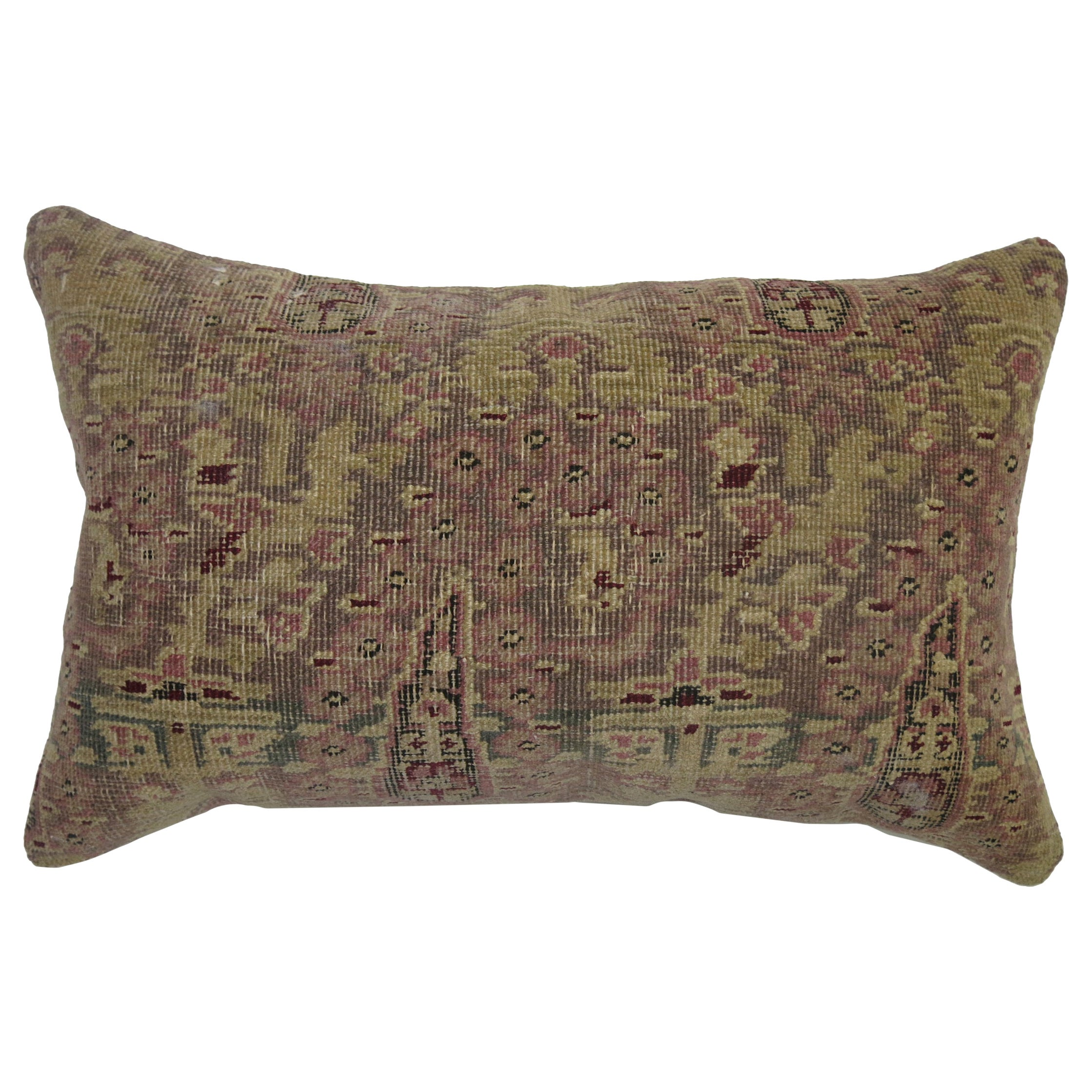 Antique Indian Agra Bolster Rug Pillow