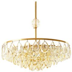 Palwa Chandelier, Gilded Brass and Amber Tone Glass, 1960s
