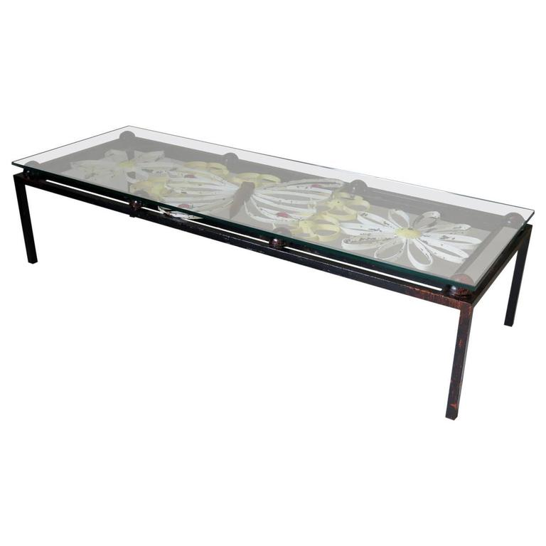 """Butterfly & Flower"" Motif Coffee Table, France, circa 1950s"
