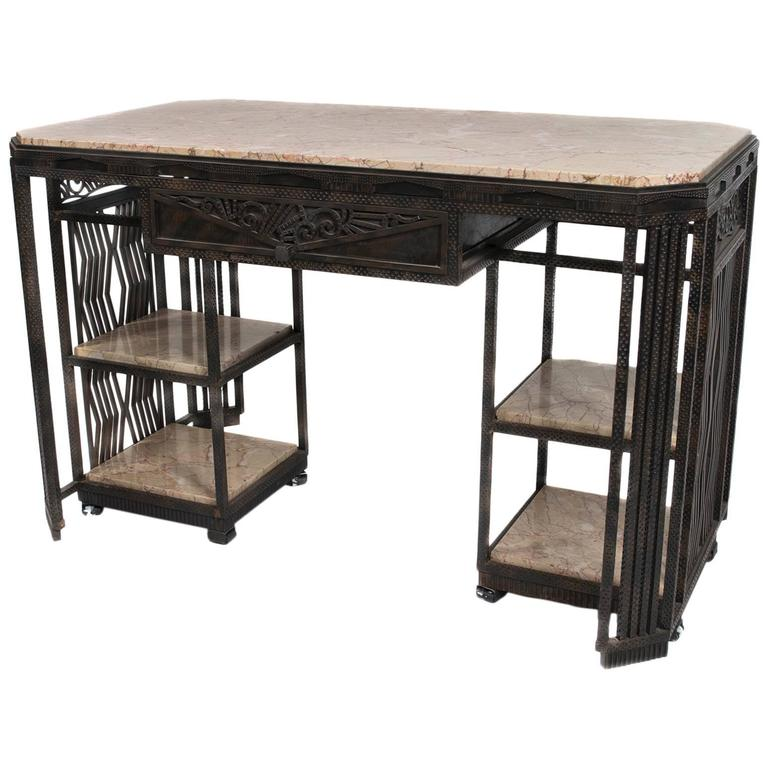 French Art Deco Wrought Iron and Marble Partner's Desk by Paul Kiss, circa 1920s 1