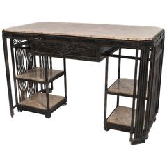 French Art Deco Wrought Iron and Marble Partner's Desk by Paul Kiss, circa 1920s