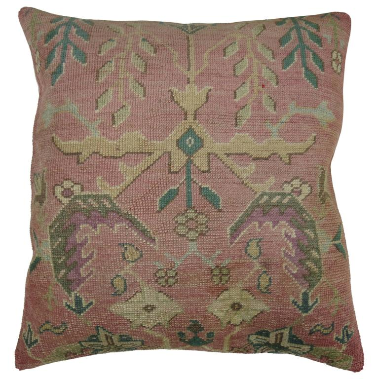 Pink Antique Oushak Rug Pillow At 1stdibs