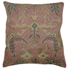 Pink Antique Oushak Rug Pillow