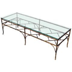 Gilt Metal Faux Bamboo Coffee Table
