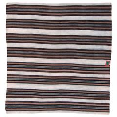 Vintage Tibetan Nomadic Blanket With Stripes