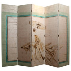 Folding Painted Screen of a Woman attributed to Jacques Grange