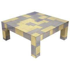 """Paul Evans Brass and Chrome """"Cityscape"""" Coffee Table"""