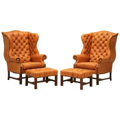 English Chesterfield Wingbacks with Matching Ottomans