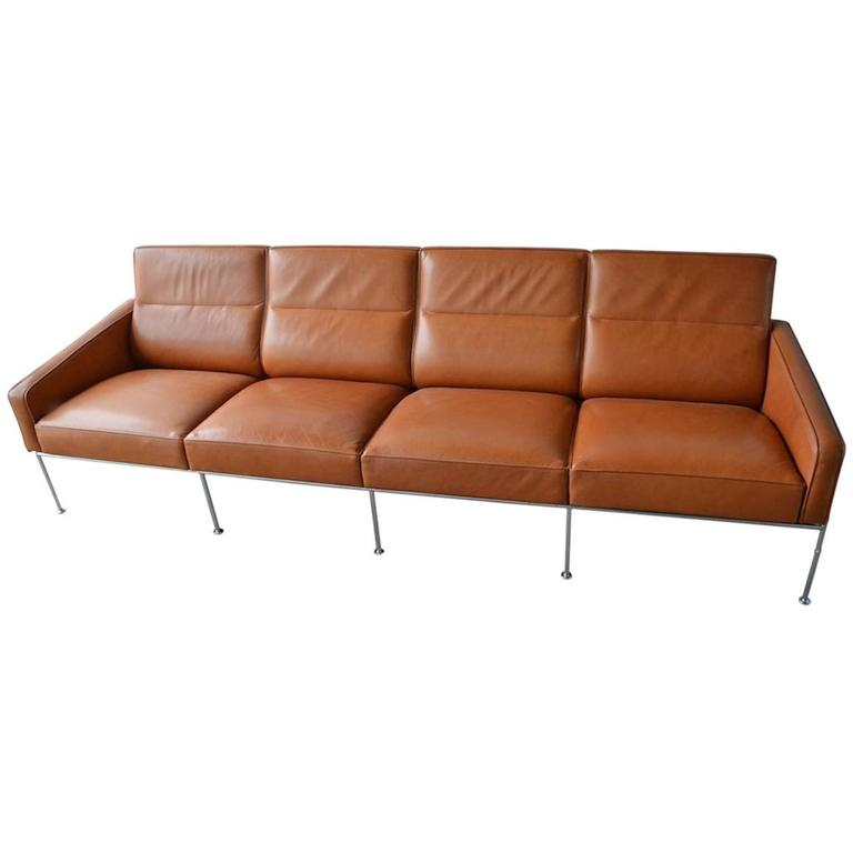 Rare Leather Arne Jacobsen Series 3300 Four-Seat Sofa