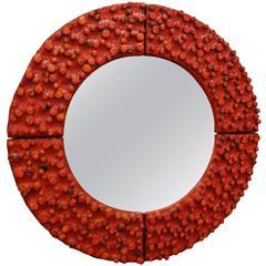 Amphora Round Mid-Century Wall Mirror Glazed Tile Framed France circa 1965