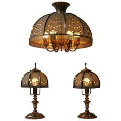 Set of Two Table Lamps and Pendant Lamp