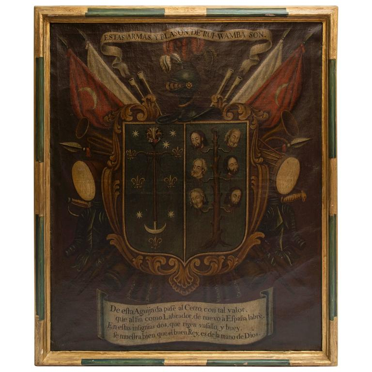 19th Century Oil Painting of Coat of Arms in Custom Green and Gilt Frame For Sale