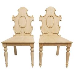 Pair of Wooden Side or Hall Chairs in Painted Wood