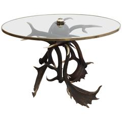 19th Century Antler Based Side Table with Glass Top in Brass Rim