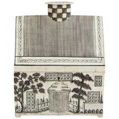 Anglo-Indian Style Engraved Bone House Box