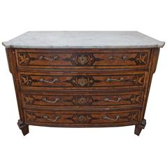 18th Century Italian Walnut Veneered Commode with White Marble Top