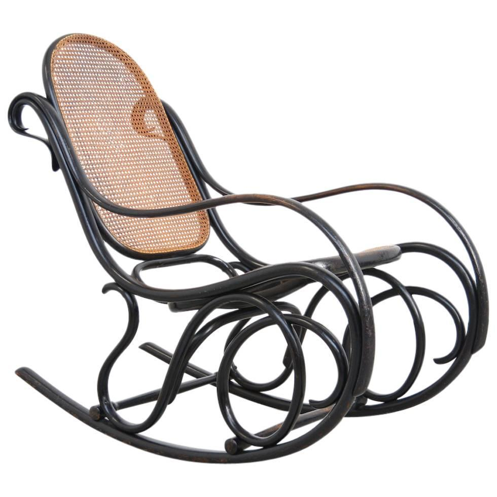 Attractive Old Original Rocking Chair By Michael Thonet For Gebruder Thonet At 1stdibs