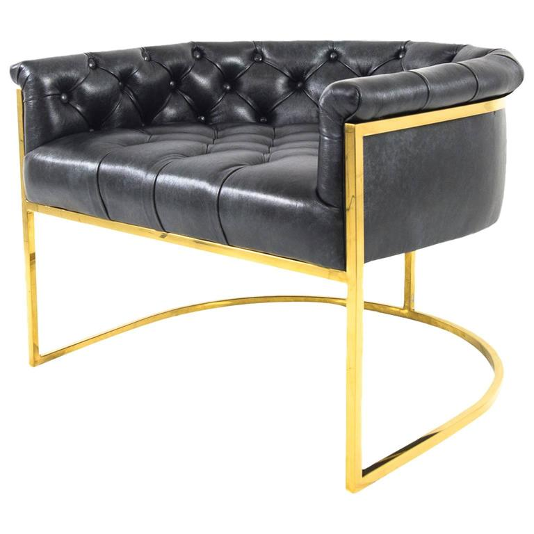 Mid-Century Style Lisbon Chair in Black Leather with Curved Slim Brass Frame