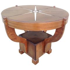 Art Deco Mixed Woods Round Occasional Table