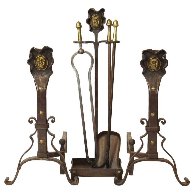 Set of hand forged steel and gilt brass andirons fire