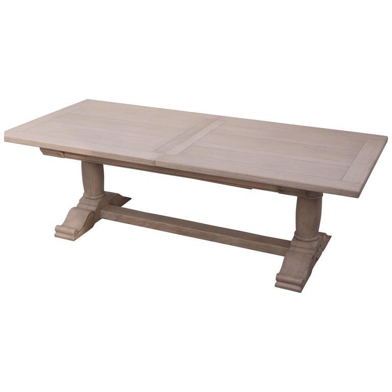 French Handmade Oak Extending Pedestal Dining Table For Sale At 1stdibs