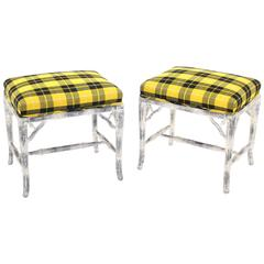 Pair of Faux Bamboo White Wash Finish Yellow Black Plaid Upholstery Benches