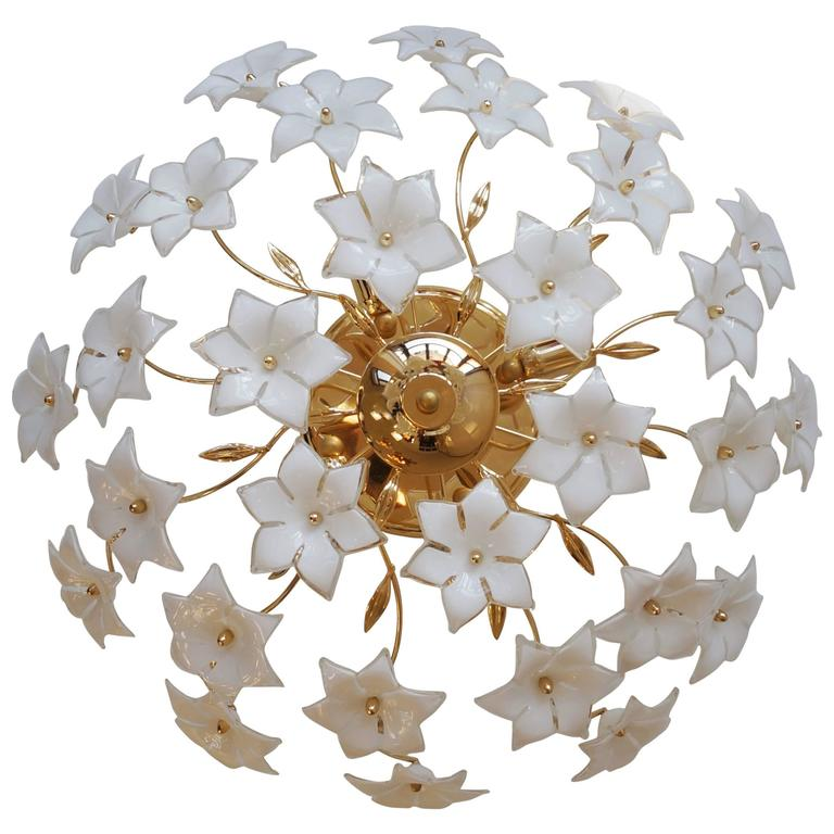 Italian Wall Light or Flush Mount with Murano Glass Flowers