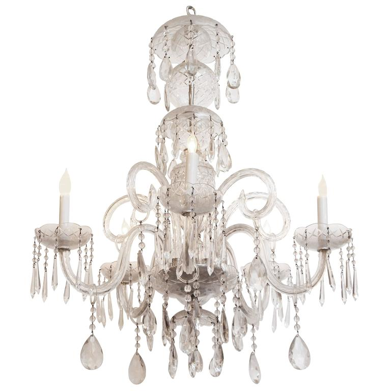 1940s Waterford Marie Therese Style Crystal Chandelier